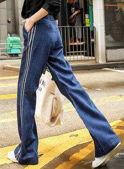 Tied Splicing Loose Side Stripe Straight Pants
