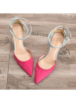 Chic Color-blocked Pointed Toe Thin Heel Shoes