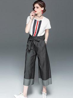 Casual O-neck T-shirt & Tie-waist Wide Leg Pants