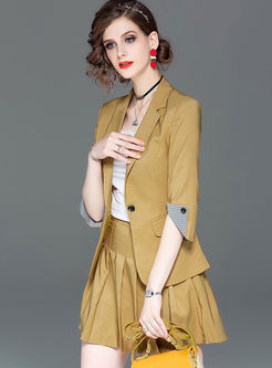 Three Quarters Sleeve Slim Two Piece Outfits