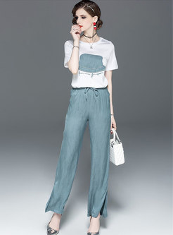 Casual O-neck Patchwork T-shirt & Tie-waist Slit Wide Leg Pants