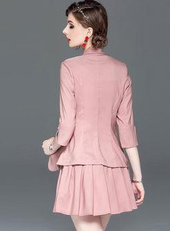 Fashion Notched Slim Blazer & Pleated Mini Skirt