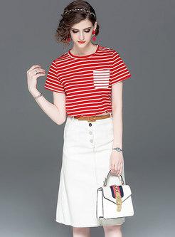 Stylish Striped O-neck T-shirt & Single-breasted Sheath Skirt