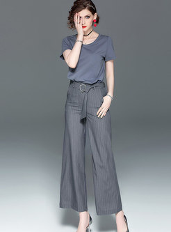 Pure Color O-neck T-shirt & Striped Wide Leg Pants
