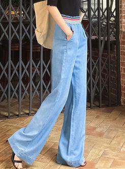 Stylish Elastic High Waist Denim Wide Leg Pants