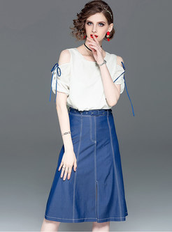 O-neck Off Shoulder T-shirt & Denim Belted Slit Skirt