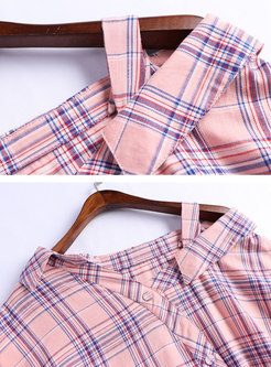 Plaid Slash Neck Slim Blouse & Denim Mini Skirt