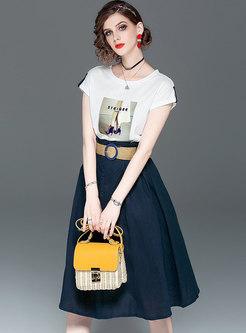Brief O-neck Print T-shirt & High Waist Belted Skirt