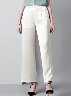 Brief Elastic Waist Wide Leg Pants