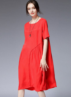 Solid Color O-neck Splicing Loose Dress