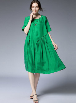 Pure Color O-neck Splicing Loose Dress