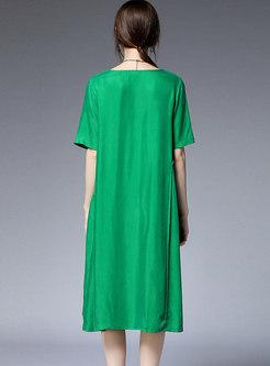 Pure Color O-neck Splicing Loose Dress