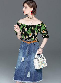 Print Elastic Slash Neck Top & Denim High Waist Skirt