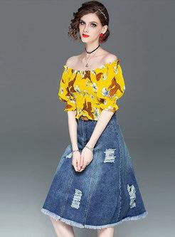 Chic Print Elastic Slash Neck Top & Denim High Waist Skirt