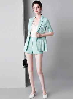 Plaid Notched Half Sleeve Slim Blazer & Shorts