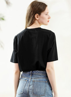 Brief O-neck All-matched Embroidered T-shirt