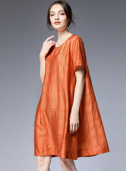 Brief Pure Color O-neck Loose Midi Dress