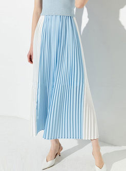 Brief Color-blocked High Waist Pleated Skirt