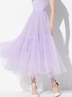 Sweet Purple High Waist Polka Dot Mesh Skirt