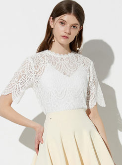 White O-neck Short Sleeve Perspective Lace T-shirt