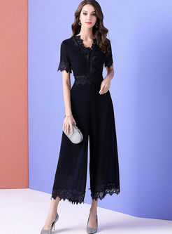 V-neck High Waist Solid Color Lace Jumpsuits