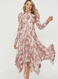 V-neck Long Sleeve Print Big Hem Maxi Dress