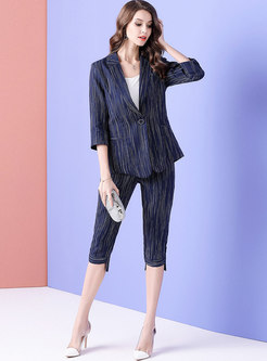 Stylish Striped High Waist Summer Suit Set