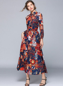 Vintage Print Turn-down Collar Big Hem Maxi Dress