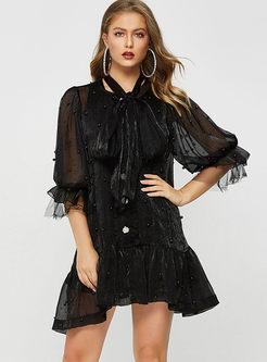 Fashion V-neck Beaded Big Hem Loose Shift Dress