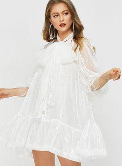 Stylish Half Sleeve Beaded Mesh Big Hem Dress