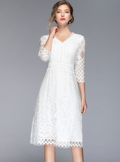 Solid Color Lace V-neck Openwork Skater Dress