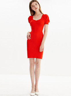 Brief Square Neck Sheath Knitted Dress