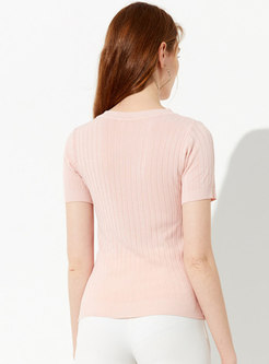 Solid Color O-neck Short Sleeve Knitted Top