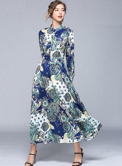 Vintage Print Stand Collar Slim Maxi Dress