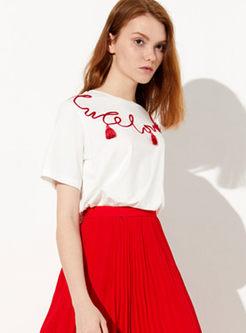 Casual Tassel Short Sleeve Pullover T-shirt