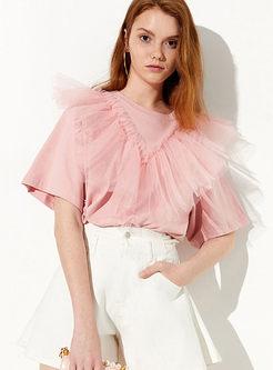 Chic Sweet Pink O-neck Mesh Splicing T-shirt