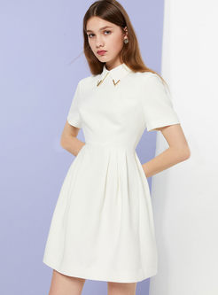 Casual Solid Color Lapel Short Sleeve Skater Dress