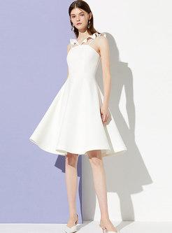 Chic V-neck Sleeveless Slim Skater Dress