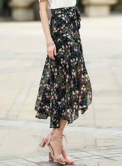 Stylish Floral High Waist Asymmetric Skirt