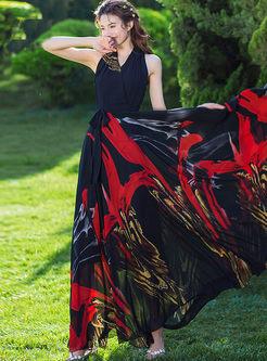 Bohemian V-neck Sleeveless High Waist Print Dress