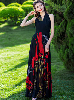 Bohemian V-neck Sleeveless Print Beach Maxi Dress