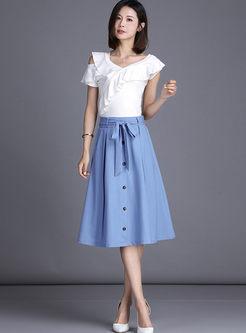 Bowknot High Waist Big Hem Denim A Line Skirt