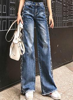 Retro Denim High Waist Sequined Wide Leg Pants