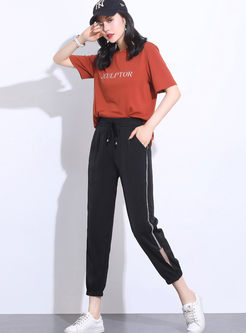 Elastic High Waist Tied Easy-matching Harem Pants