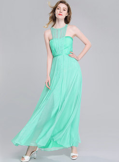 Stylish Backless O-neck Big Hem Green Maxi Dress