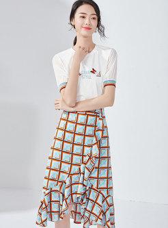 Letter Embroidered O-neck T-shirt & Plaid Mermaid Skirt