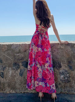 Bohemian V-neck Backless Print High Waist Dress