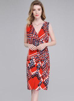 Fashion Color-blocked V-neck Tied Print Bodycon Dress