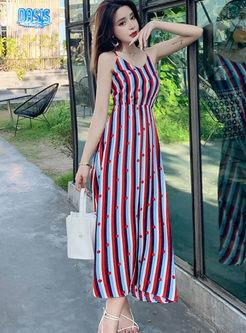V-neck Color-blocked Striped A Line Midi Dress