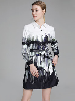 Casual Turn-down Collar Print Tied T-shirt Dress